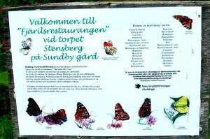 Skylt vid fjärilsrestaurangen vid Sundby Gård.